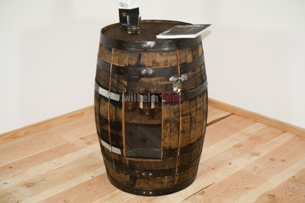 Shelf barrel made of a bourbon barrel 190 l incl. door with a Plexiglas window