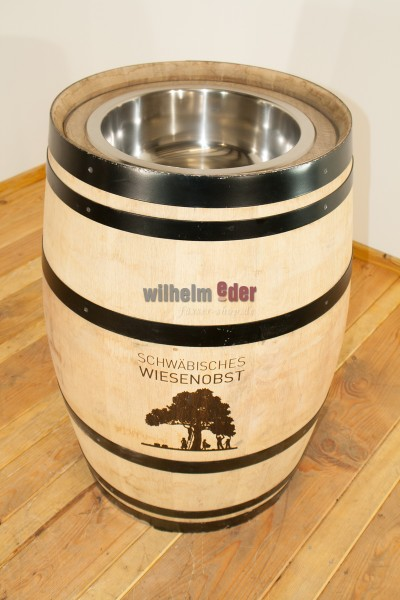 Barrel with stainless steel sink