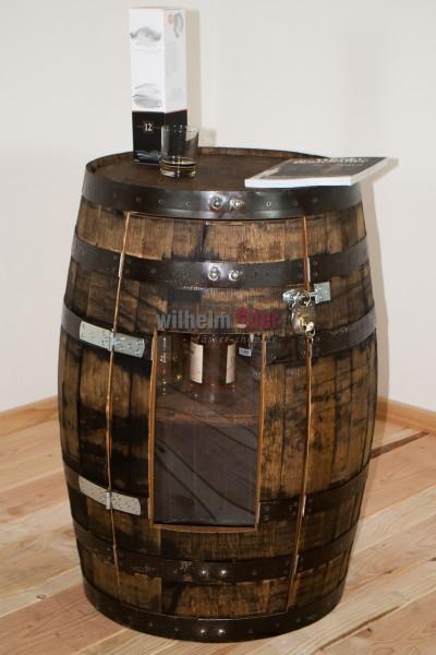 Shelf barrel made of a bourbon barrel 190 l incl. door with a Plexiglas window