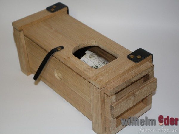 Wooden box of staves with leather applications
