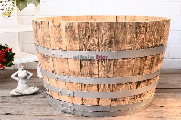 Flower pot - 1/2 300 - 350 l wine spirit barrel - sanded