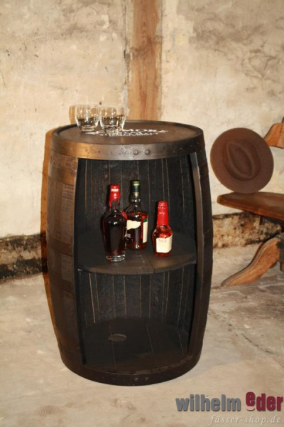 Shelf barrel made of a bourbon barrel 190 l black