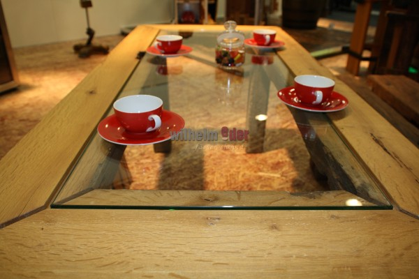 Table with glass plate