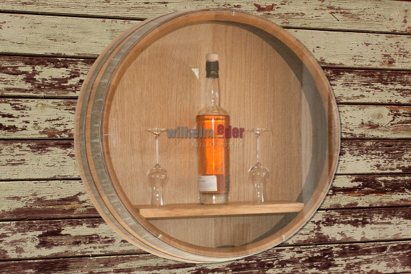 Barrel head shelf with Plexiglas plate