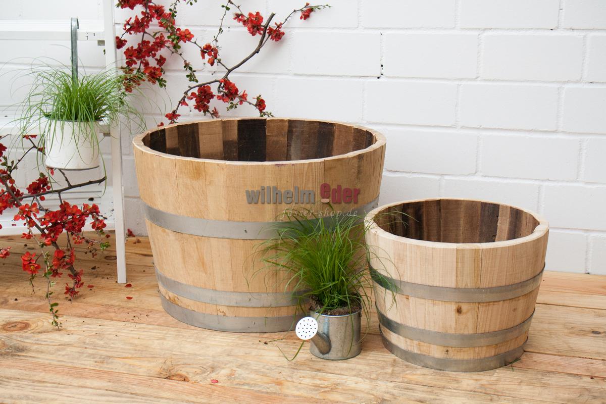 Demi Tonneau En Bois flower pot small - 1/2 chestnutbarrel