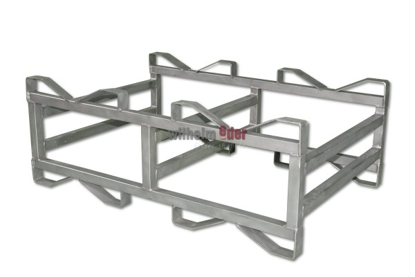 Stainless steel combination rack for two 112 l barrels