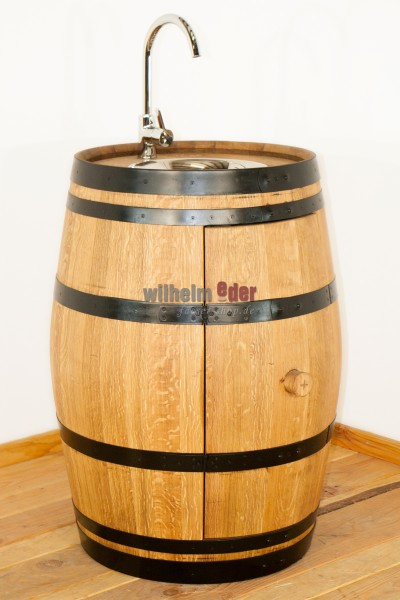 Barrel with fittings and a sink