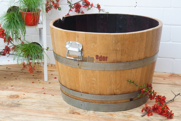 Flower pot painted with handles - 1/2 barrel
