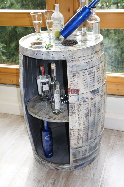 Shelf barrel made of a bourbon barrel 190 l - Nordic Style