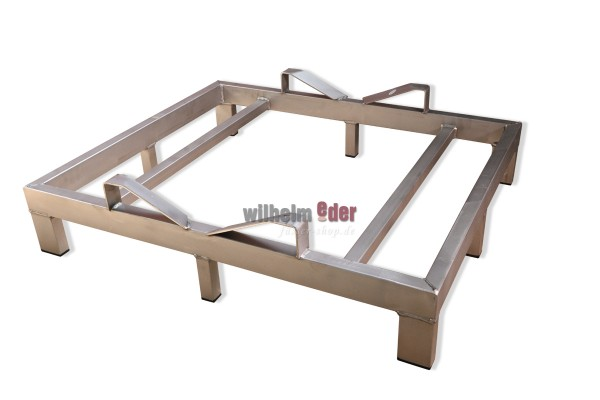"""Stainless Steel Single Rack """"Made in Germany"""" for 500 l barrels, base piece, glas bead blasted."""
