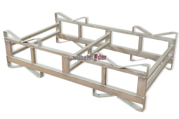 """Stainless Steel Combination Rack """"Made in Germany"""" for two 500 l barrels, base piece, glas bead blasted."""